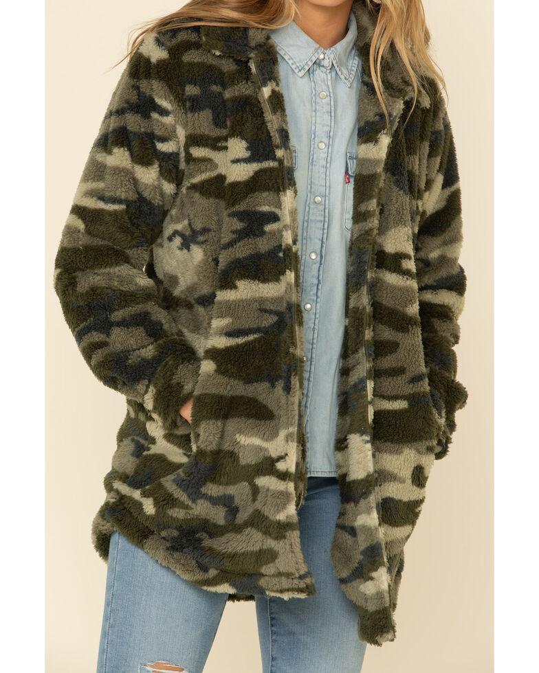 PJ Salvage Women's Sherpa Shacket , Camouflage, hi-res