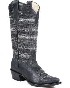 Roper Vintage Fabric Cowgirl Boots - Snip Toe, Black, hi-res
