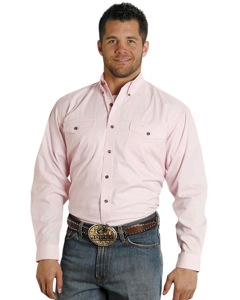 Roper Men's Solid Amarillo Collection Long Sleeve Western Shirt, Pink, hi-res