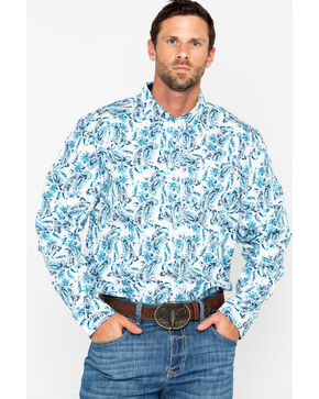 Cody James Men's Peacock Paisley Long Sleeve Western Shirt, White, hi-res