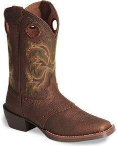 Justin Children's Junior Stampede Cowboy Boots - Square Toe, Dark Brown, hi-res