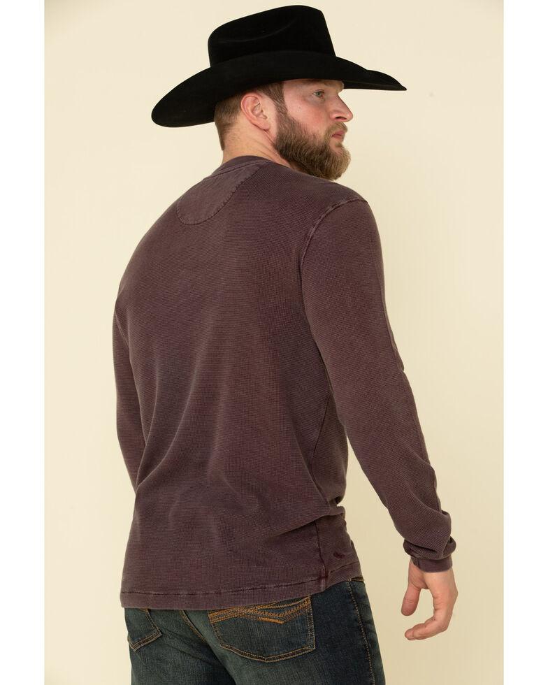 Cody James Men's Wagon Wheel Button Henley Long Sleeve Shirt , Burgundy, hi-res