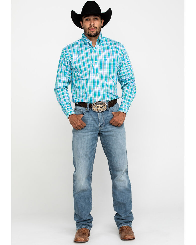Wrangler Men's Classic Aqua Green Plaid Long Sleeve Western Shirt , Green, hi-res