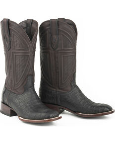 Stetson Men's Black Caiman Belly Western Boots - Square Toe , Black, hi-res