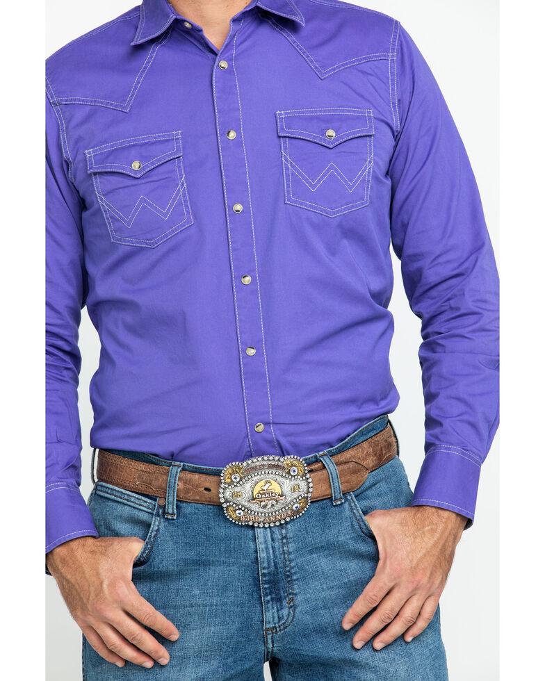 Wrangler Retro Men's Premium Purple Solid Long Sleeve Western Shirt , Purple, hi-res