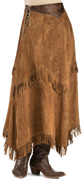 Kobler Leather Women's Nancy Leather Fringe Skirt, Brown, hi-res