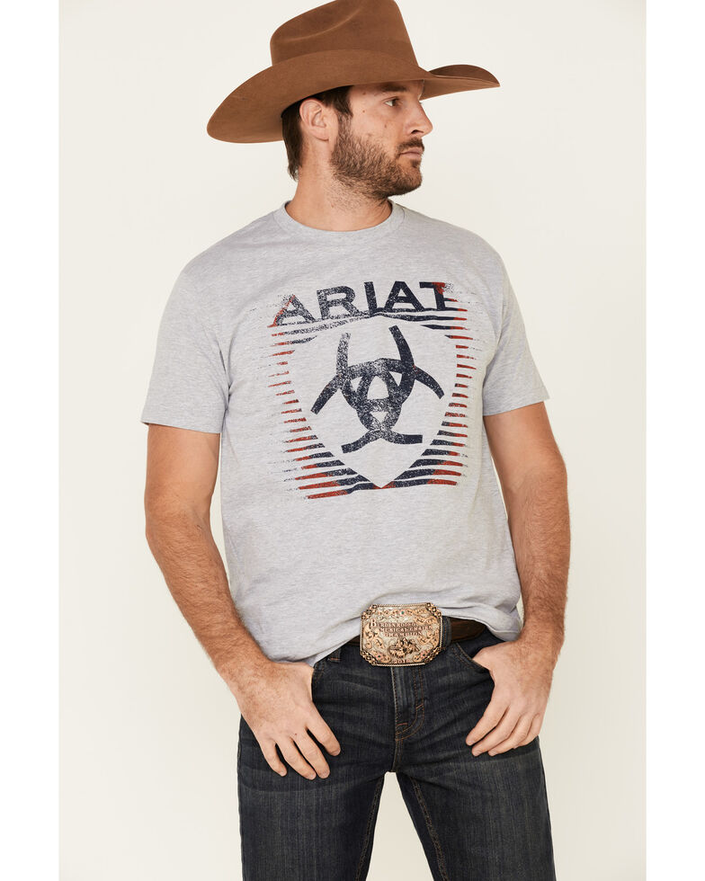 Ariat Men's Heather Grey Shade Logo Graphic T-Shirt , Light Grey, hi-res