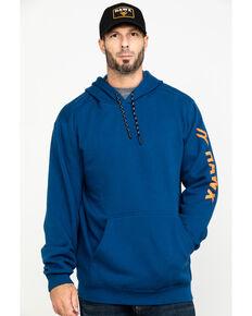 Hawx® Men's Blue Logo Sleeve Performance Fleece Hooded Work Sweatshirt - Big , Blue, hi-res