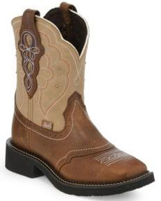 Justin Women's Brown Jaguar Western Boots - Wide Square toe, Tan, hi-res