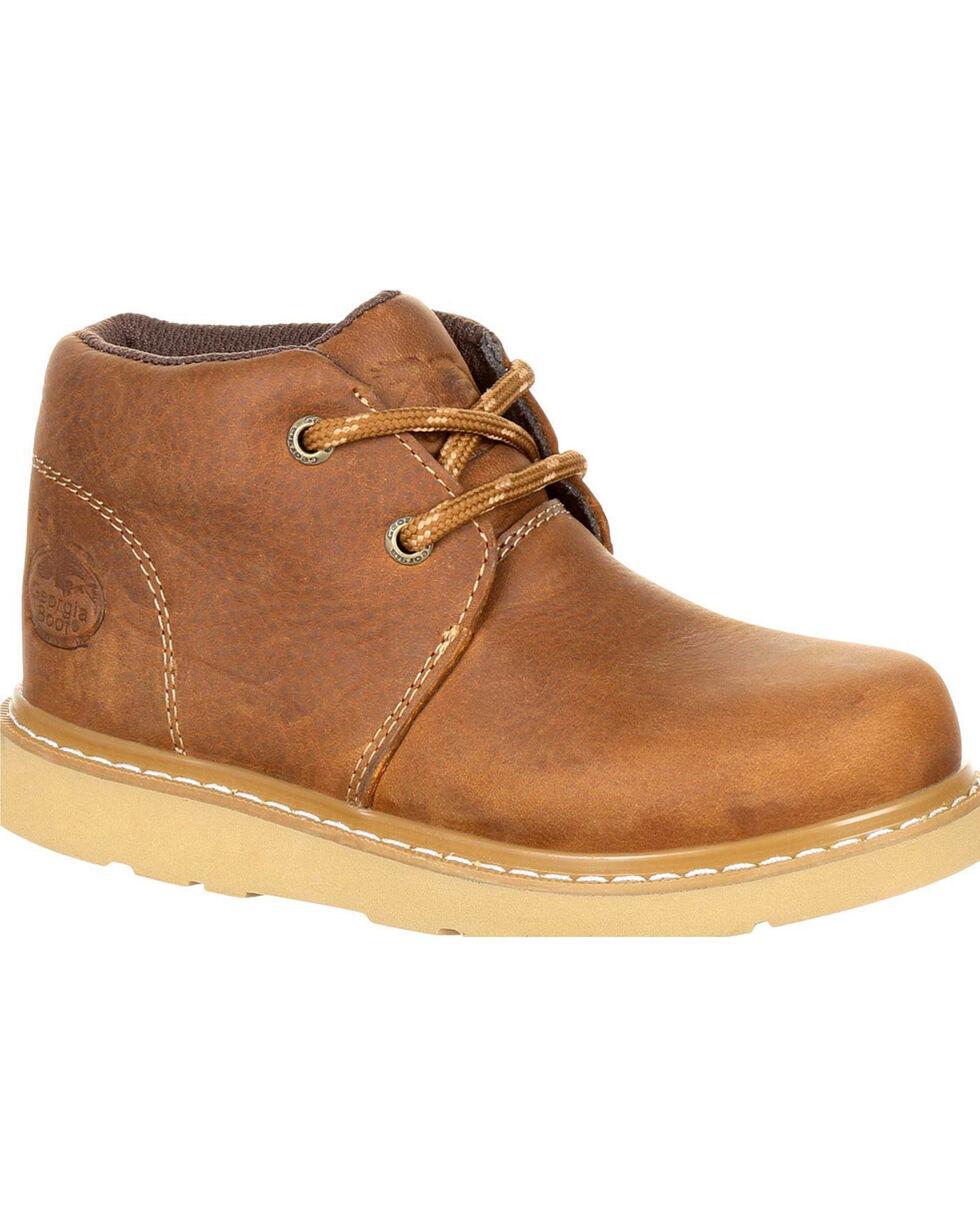 Georgia Boys' Brown Chukka Wedge Boots - Round Toe , Brown, hi-res