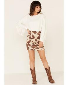 Idyllwind Women's Cow Print Skirt, Brown, hi-res