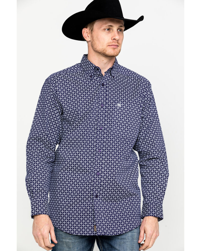 Ariat Men's Speakman Stretch Geo Print Long Sleeve Western Shirt , Purple, hi-res