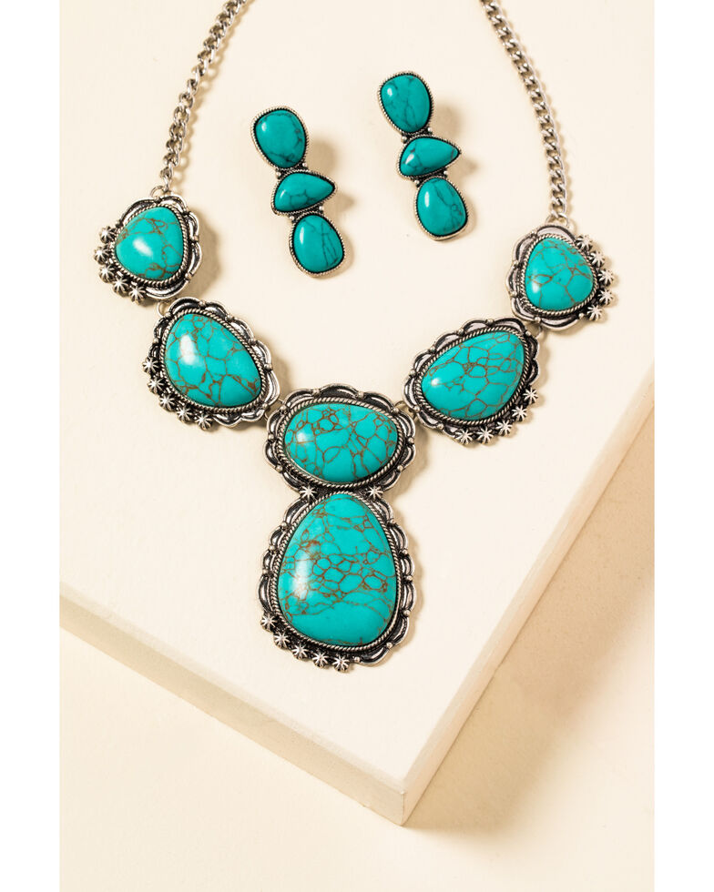 Shyanne Women's In The Oasis Large Turquoise Stone Jewelry Set , Silver, hi-res
