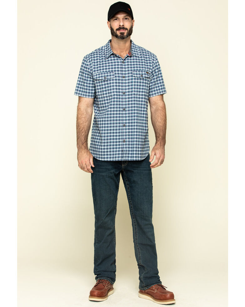Hawx Men's Skyhawk Indigo Plaid Short Sleeve Work Shirt , Indigo, hi-res