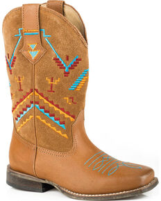 Roper Girls' Aztec Embroidery Cowgirl Boots - Square Toe, Tan, hi-res