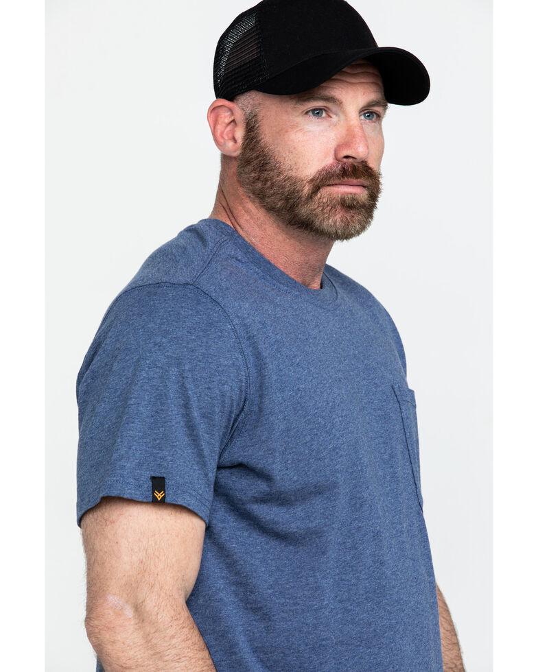 Hawx Men's Pocket Crew Short Sleeve Work T-Shirt - Tall , Heather Blue, hi-res