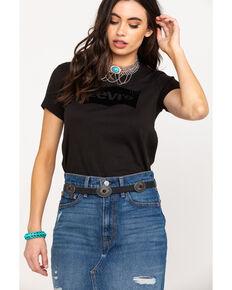 Levi's Women's Black Flocked Logo Short Sleeve Tee, Black, hi-res
