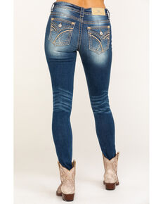 Miss Me Women's Mixed Stitch Flap Pocket Hailey Skinny Jeans, Blue, hi-res