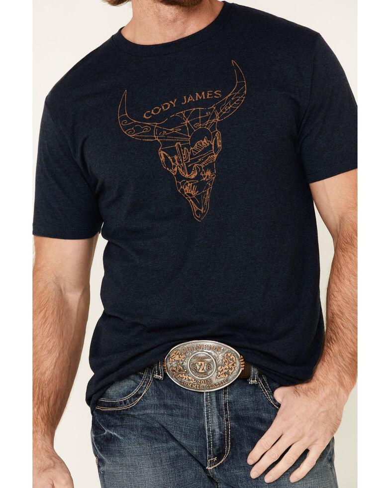 Cody James Men's Desert Bull Skull Graphic Short Sleeve T-Shirt , Navy, hi-res