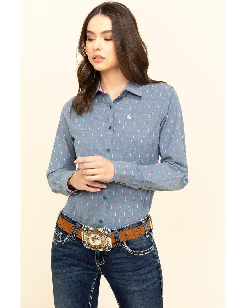Ariat Women's Faith Dobby Kirby Stretch Long Sleeve Shirt , Blue, hi-res