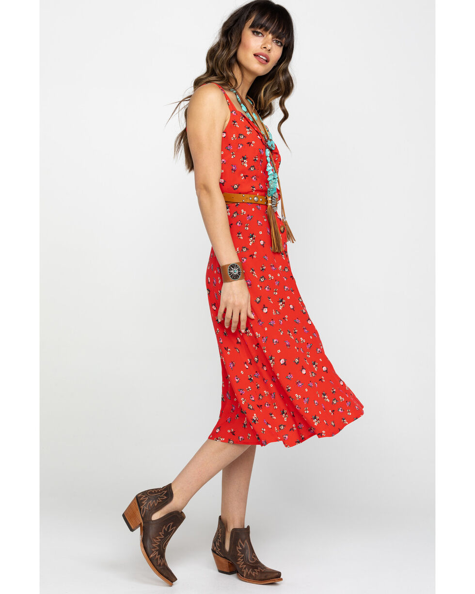 Nikki Erin Women's Red Floral Button Down Midi Dress, Red, hi-res