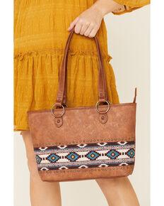 Shyanne Women's Hadley Tooled Aztec Serape Tote Bag, Brown, hi-res