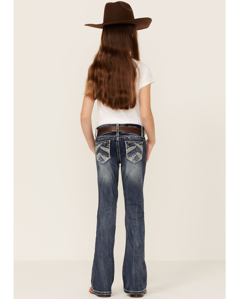 Grace In LA Girls' Medium Wash Baroque Motif Pocket Bootcut Jeans , Blue, hi-res