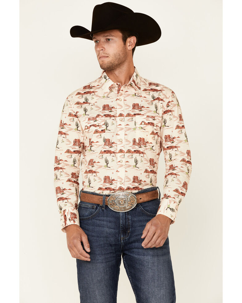 Dale Brisby Men's Natural Scenic Cactus Print Long Sleeve Snap Western Shirt , Natural, hi-res
