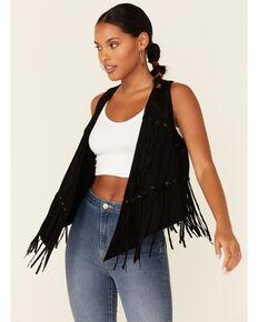 Vocal Women's Camel Faux Suede Fringe & Grommet Vest , Black, hi-res