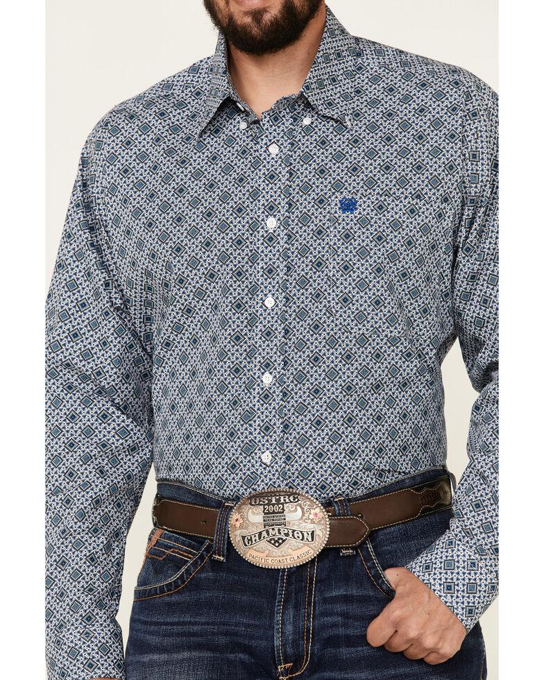 Cinch Men's White Medallion Geo Print Long Sleeve Button-Down Western Shirt , White, hi-res
