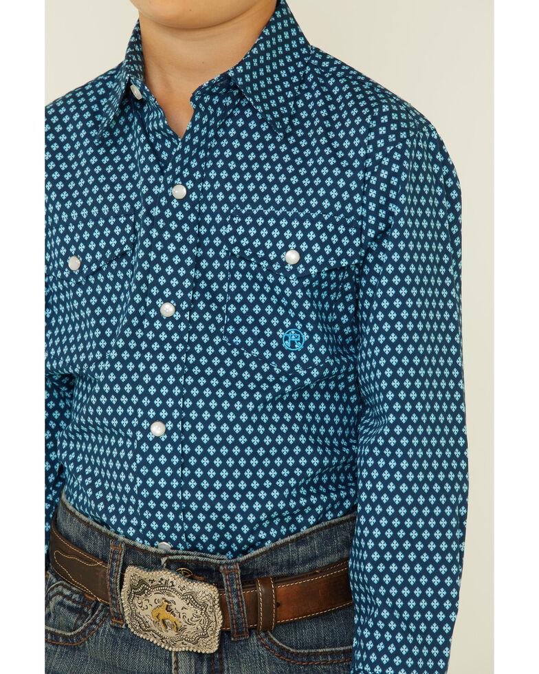 Roper Boys' Diamond Fluer Foulard Geo Print Long Sleeve Snap Western Shirt , Blue, hi-res