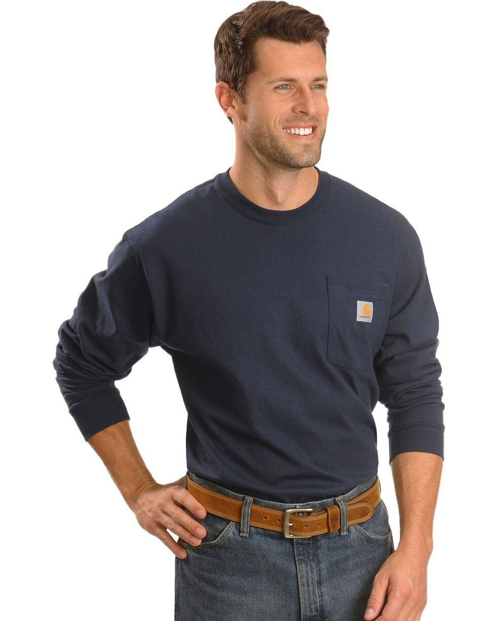 Carhartt Long Sleeve Pocket Work Shirt - Tall, Navy, hi-res