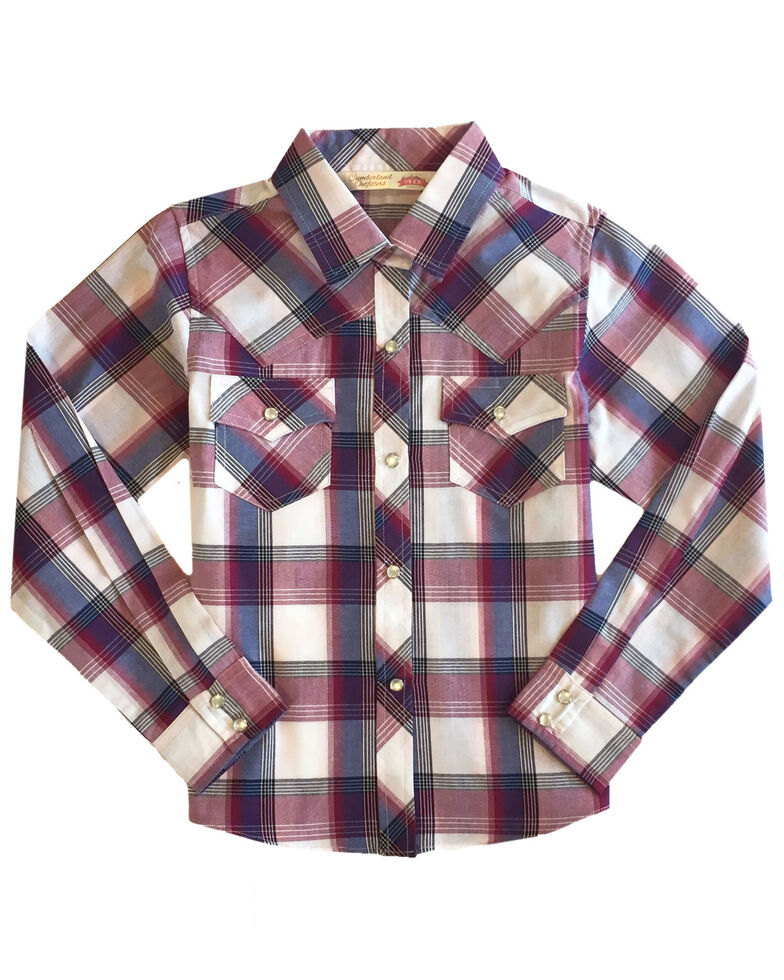 Ely Walker Girls' Pink Plaid Long Sleeve Western Shirt , Pink, hi-res