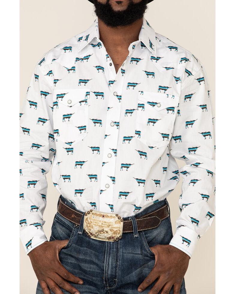 Rough Stock By Panhandle Men's El Toro Bull Geo Print Long Sleeve Western Shirt , White, hi-res