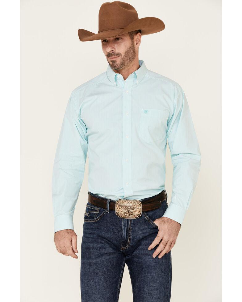 Ariat Men's Dayne Mini Striped Long Sleeve Western Shirt , Aqua, hi-res