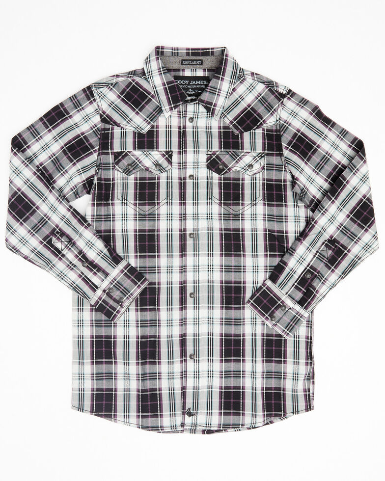 Cody James Boys' Willow Plaid Long Sleeve Western Shirt , Black/blue, hi-res