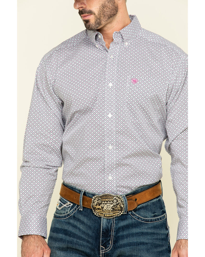 Ariat Men's Randall Stretch Geo Print Long Sleeve Western Shirt , White, hi-res