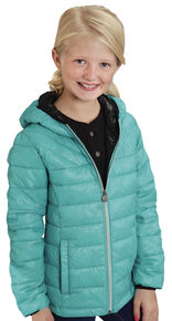 Roper Girls' RangeGear Crushable Hooded Jacket , Turquoise, hi-res