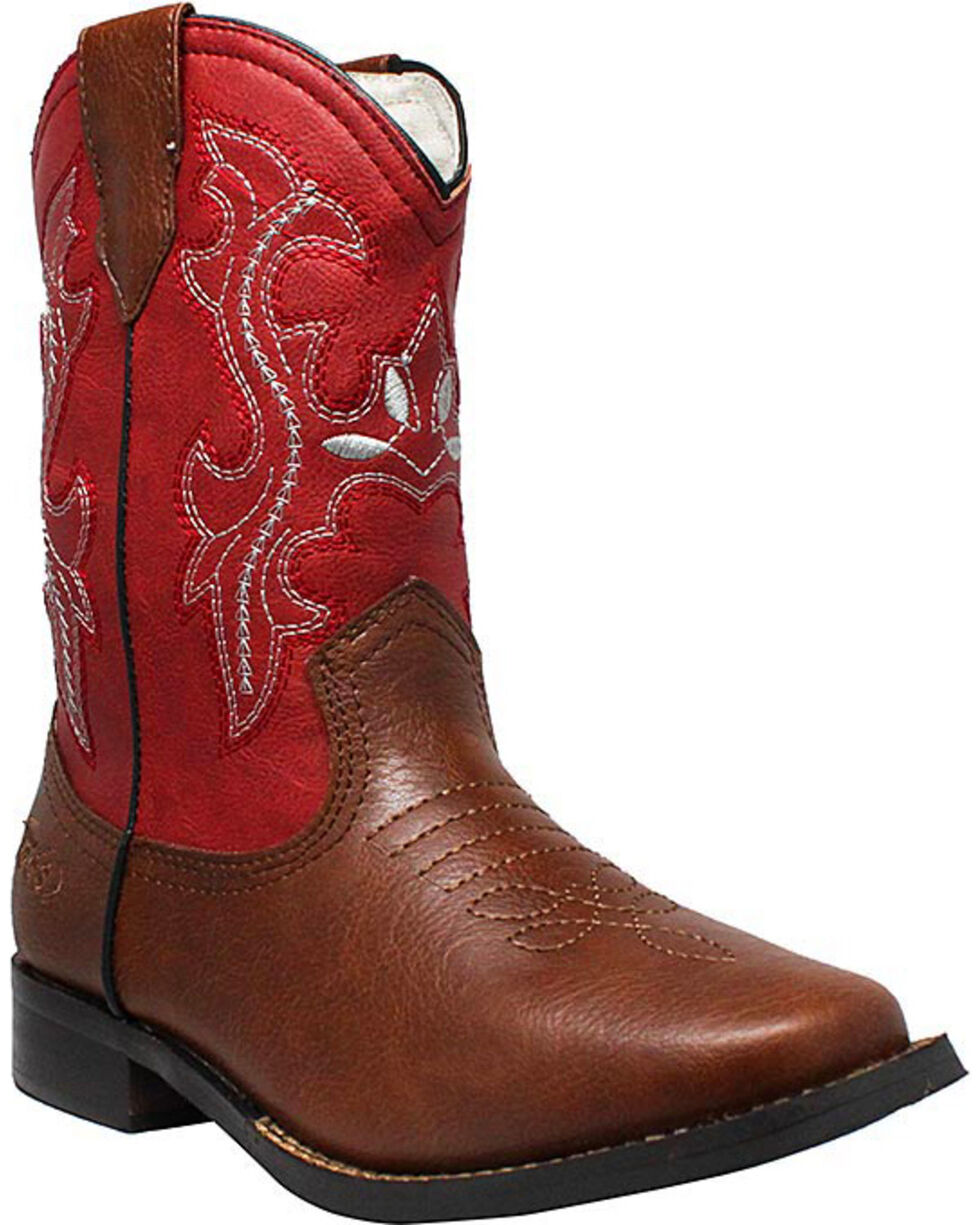 "Ad Tec Girls' 8"" Pull On Western Boots - Square Toe, Brown, hi-res"