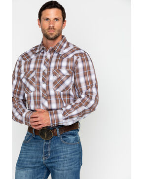 Wrangler Men's Brown Med Plaid Snap Long Sleeve Western Shirt, Brown/blue, hi-res