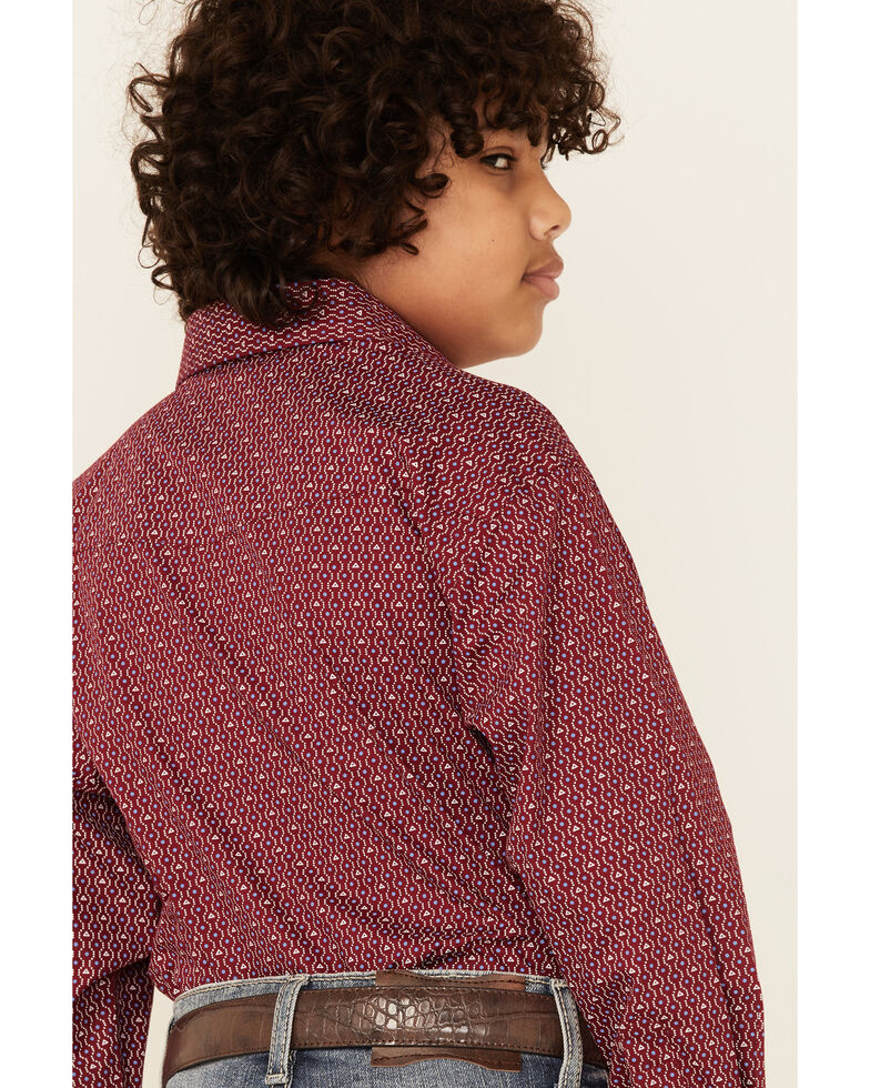 Rough Stock By Panhandle Boys' Wine Geo Print Long Sleeve Snap Western Shirt , Red, hi-res