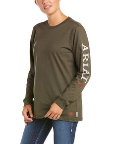 Ariat Women's FR Dark Sage Ascend Graphic Long Sleeve Work Tee  , Sage, hi-res