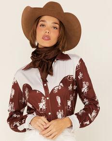 Ranch Dress'n Women's Rust Buckaroo Print Piped Yoke Long Sleeve Snap Western Core Shirt , Multi, hi-res
