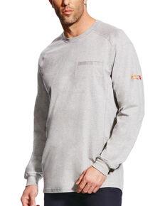 Ariat Men's FR Air Crew Long Sleeve Work Shirt, Grey, hi-res