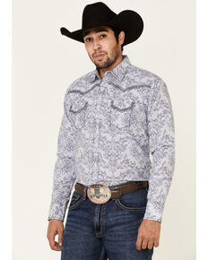 Rock 47 By Wrangler Men's Navy Paisley Print Long Sleeve Western Shirt , Navy, hi-res