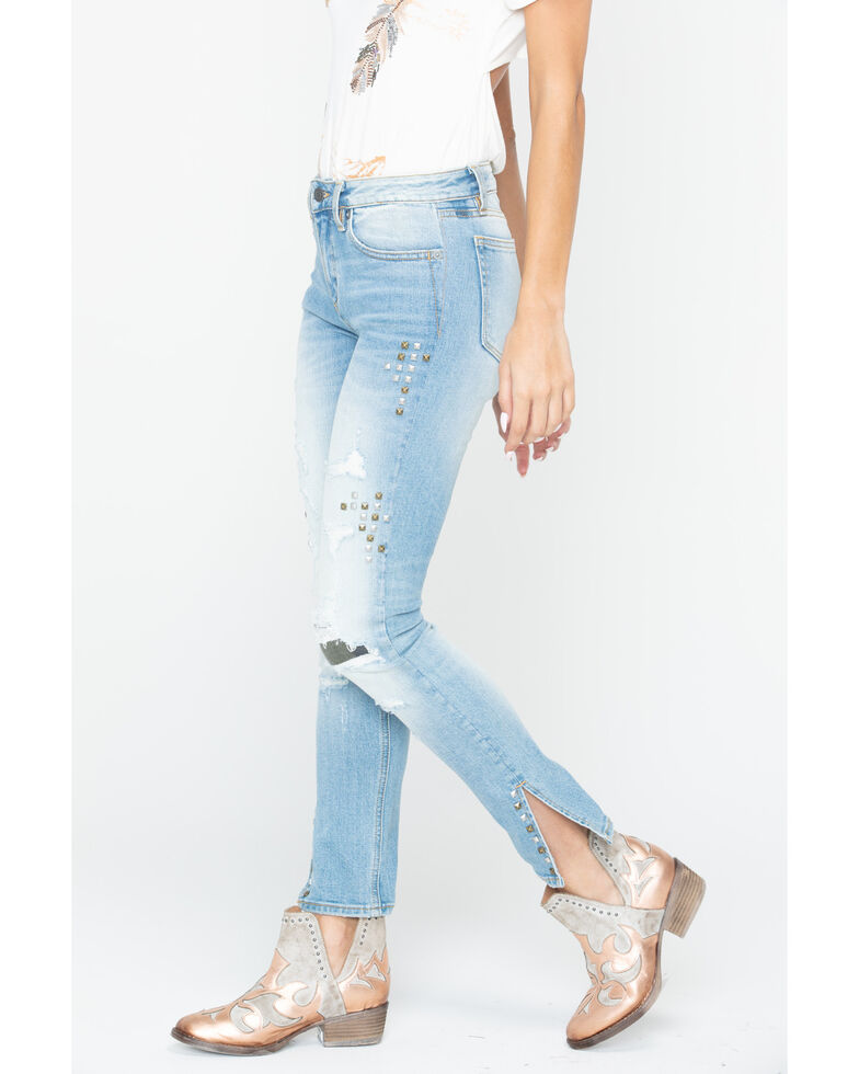 Miss Me Women's Studded and Distressed Mid-Rise Ankle Skinny Jeans, Blue, hi-res