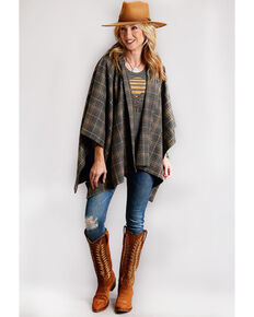 Stetson Women's Grey Plaid Wool Blanket Wrap Jacket, Grey, hi-res