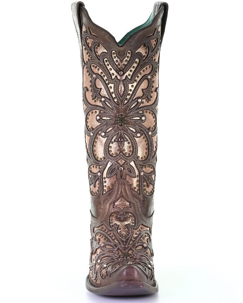 Corral Women's Brown Metallic Inlay Western Boots - Snip Toe, Brown, hi-res