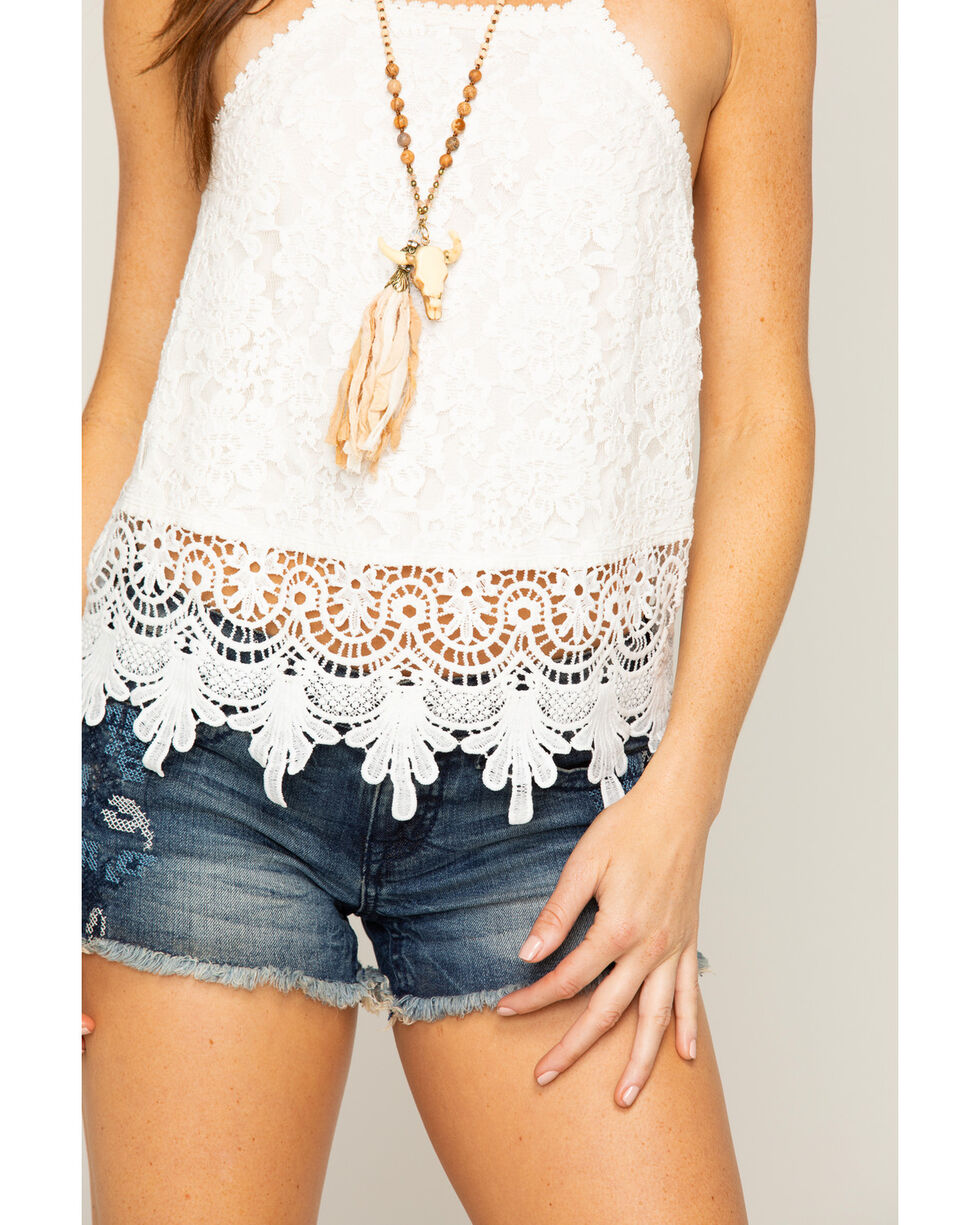 Shyanne Women's Ivory Lace Tank Top , Ivory, hi-res