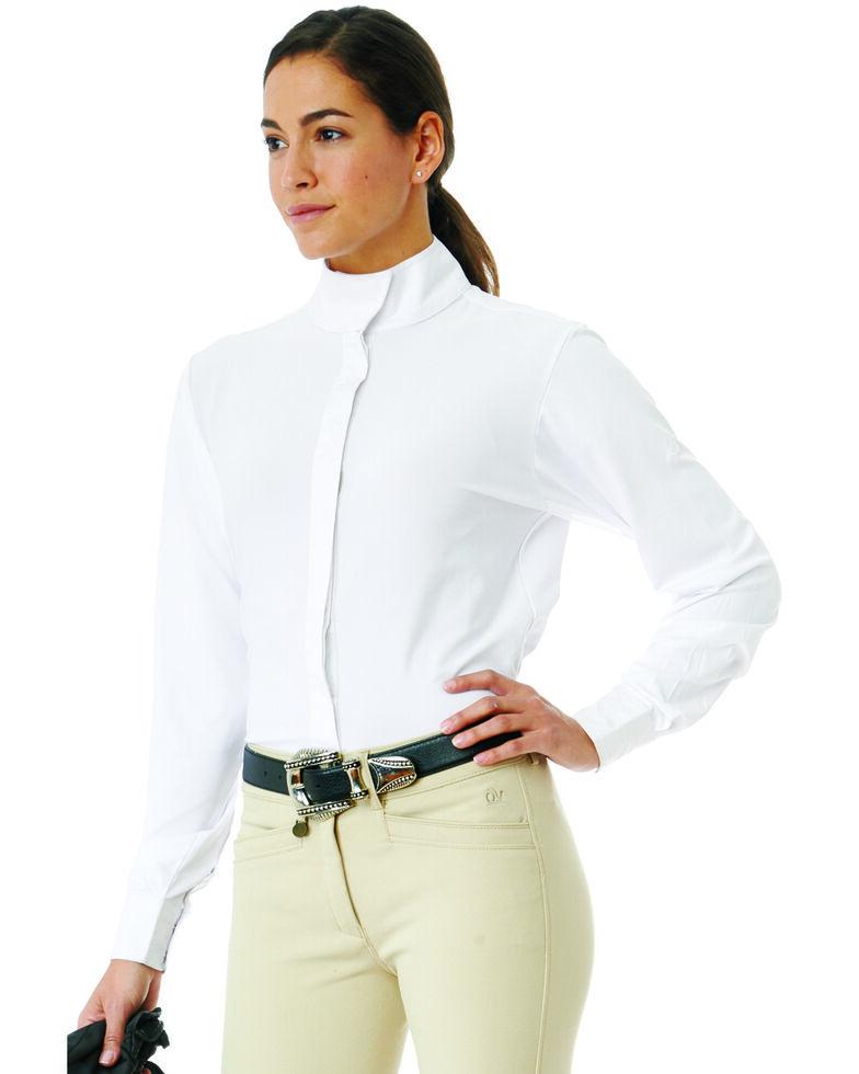 Ovation Women's LDS Long Sleeve Tech Show Shirt, White, hi-res